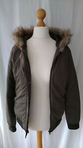 Ladies-Khaki-Padded-Bomber-Jacket-Parker-With-Hood-Size-8-By-Next