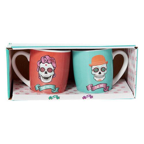 2019 Neuestes Design Day Of The Dead Keramik 2 Becher Set Die Mr. Mrs. Día De Muertos Juego 2 Tazas