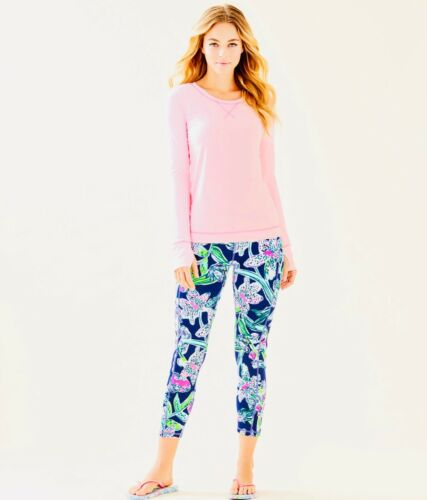 Lilly Pulitzer NWT UPF 50 Weekender Midi Leggings Bright Navy Sway This Way $98