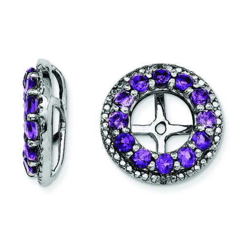 0.01 CTW Details about  /.925 Sterling Silver Genuine Diamond /& Amethyst Earring Jackets