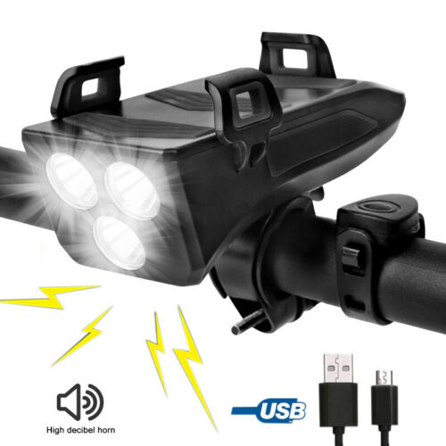 20000Lm USB Recharge Bike Headlight LED Bicycle Front Horn Lamp GPS Phone Holder