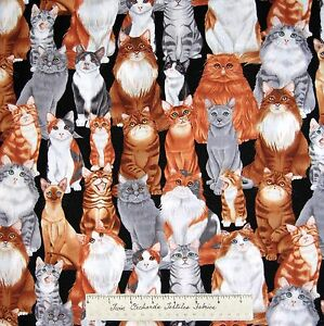 Cat-Fabric-Brown-White-Gray-Felines-on-Black-Benartex-Kanvas-Studio-YARD
