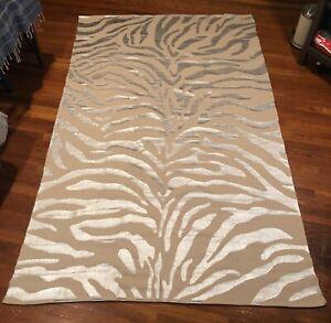 Zebra Silver 100 Cotton Area Rug 5 X8
