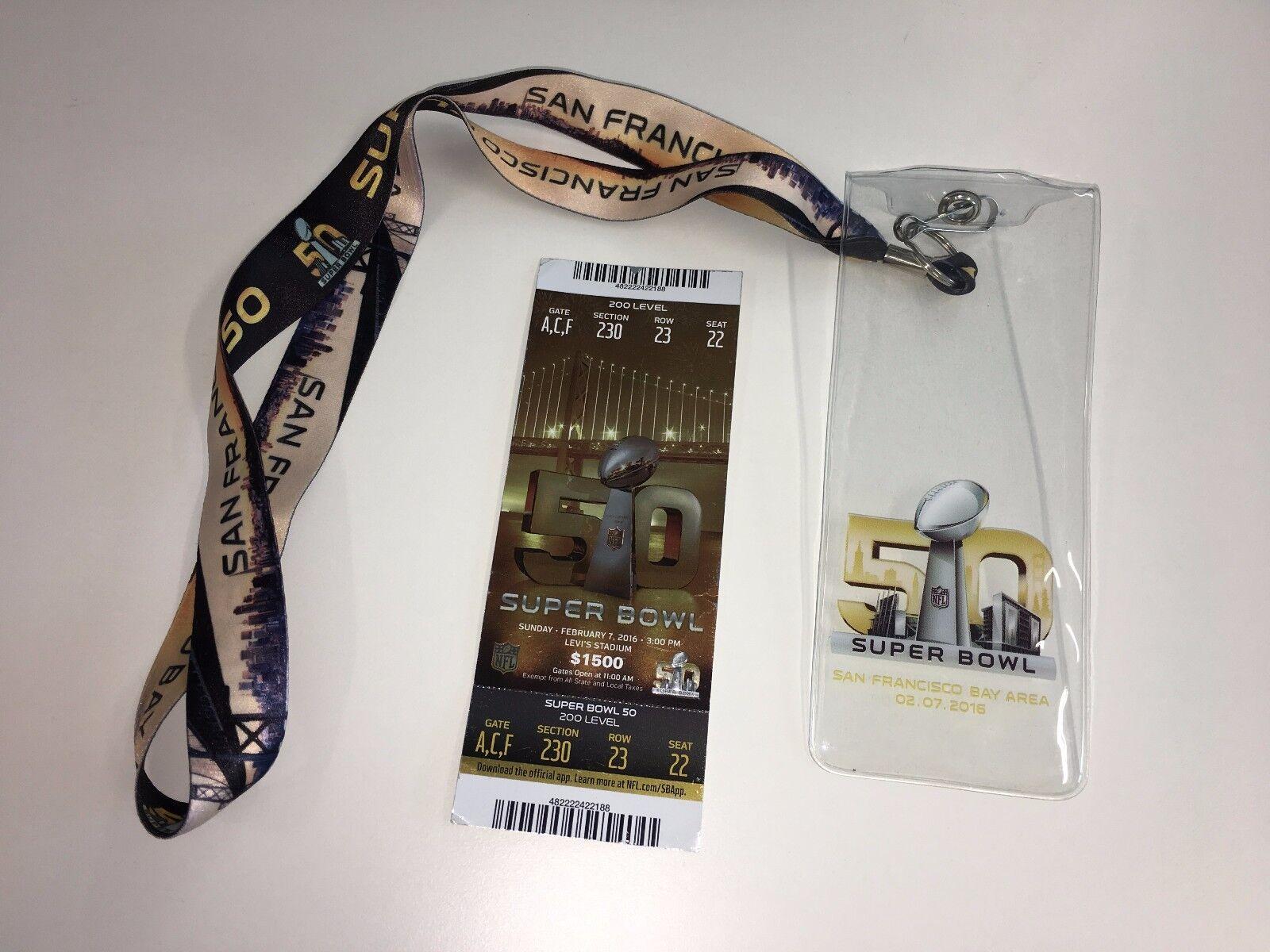 Super Bowl fifty 50, original Eintrittskarte Eintrittskarte Eintrittskarte mit Holder und Lanyard 30c110
