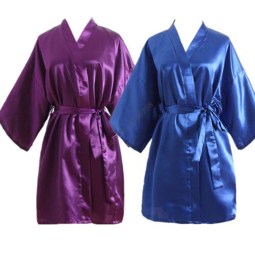 Hot Women robe Silk Satin Robes Wedding Bridesmaid Bride Gown kimono Solid robe*