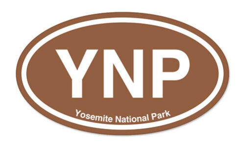 "YNP Yosemite National Park Brown Oval car bumper sticker decal 5/"" x 3/"""