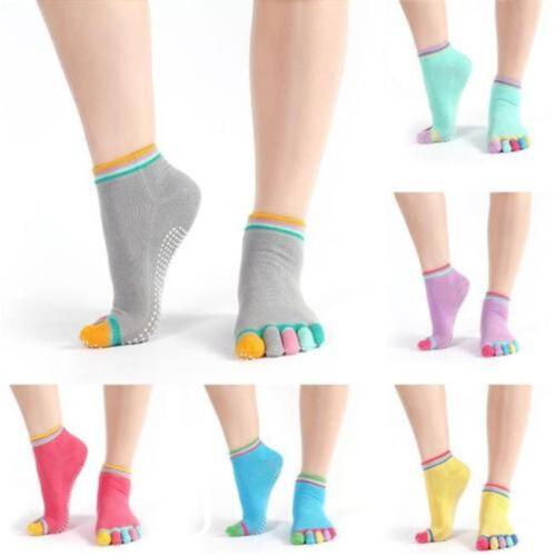 Women Cotton Yoga Gym Non Slip Pilates Massage 5 Toe Sport Socks Full Grip Socks