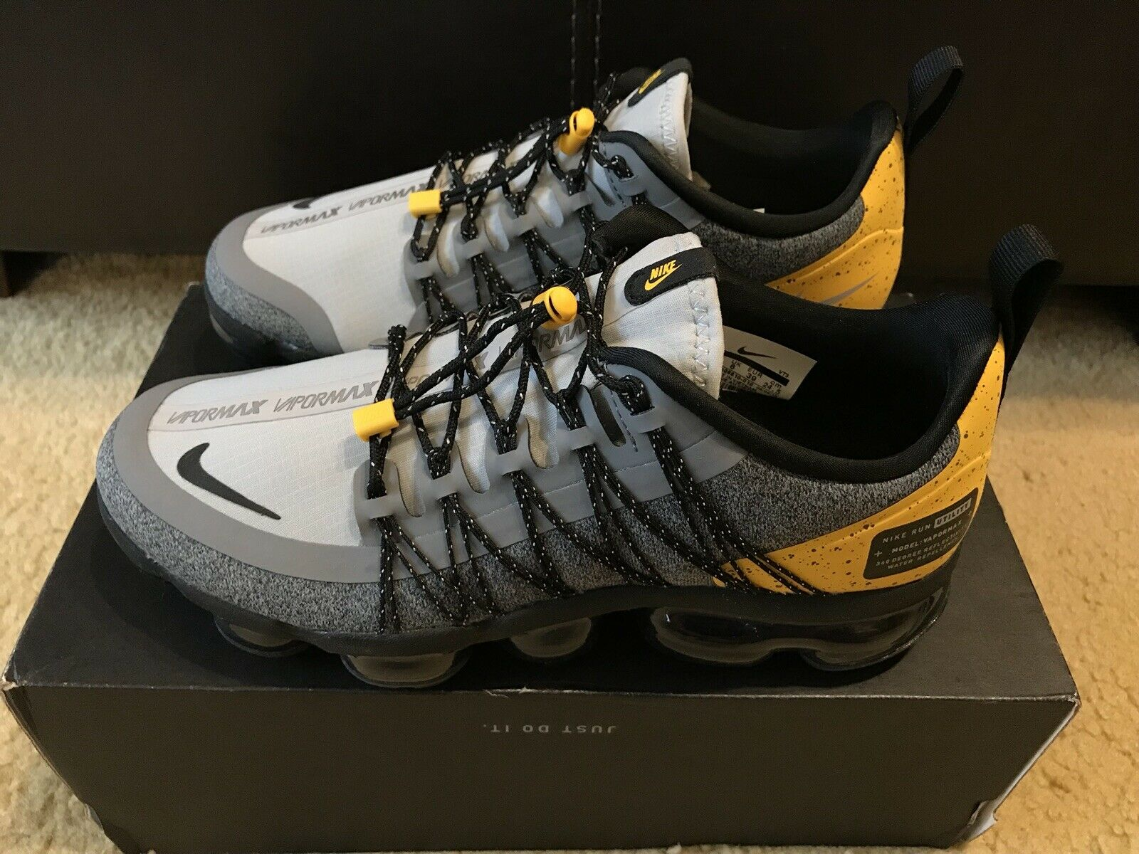 3dcb97e1e2 Nike Air Vapormax Run sz 6.5 Wolf Grey Black yellow AQ8810-010 Utility  Men's ntifcr6151-Athletic Shoes