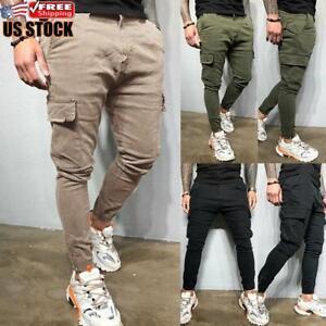 Mens Skinny Cargo Combat Work Trousers Bottoms Joggers Slim Fit Casual Pants //UK