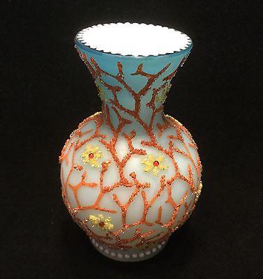 Small Webb Coralene Art Glass Vase-Seaweed Design.                     #2359