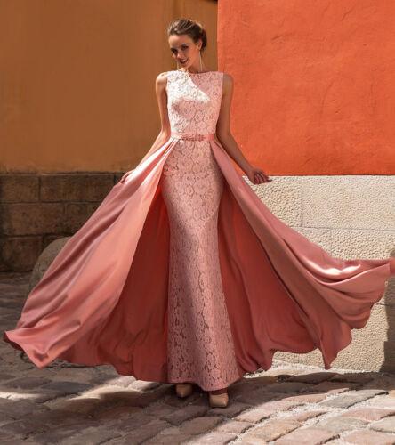 2019 Lange Spitze Mermaid Prom Kleider mit abnehmbaren Satin Zug Rosa Abendkleid