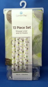 Comfort-Bay-Shower-Liner-Curtain-amp-12-Hooks-Green-Brown-Dots-PEVA-Odorless