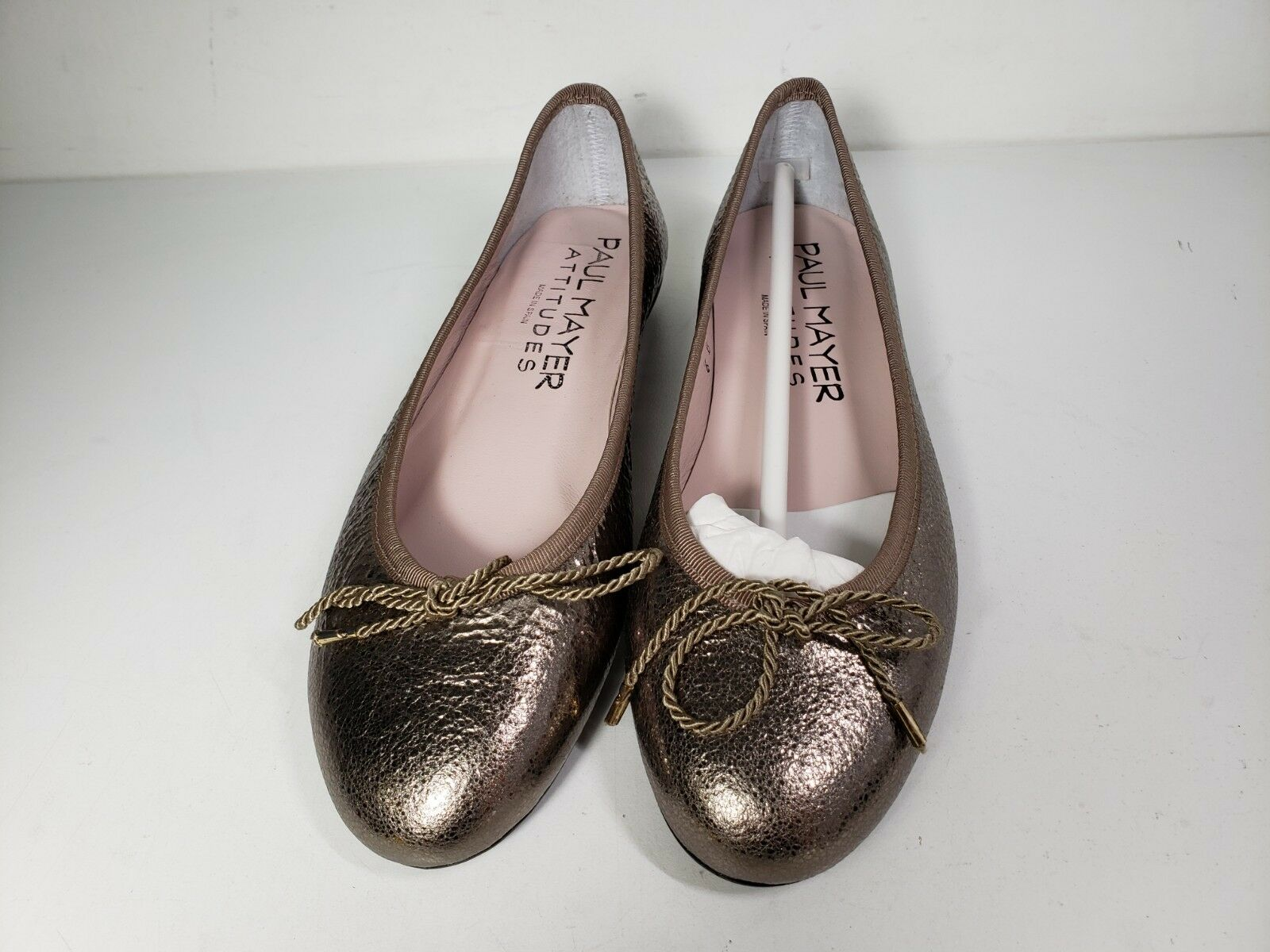 225 size 6 Paul Mayer Bingo Vulcano Stone Crinkled Crinkled Crinkled Leather Ballet Flats shoes 4129a0