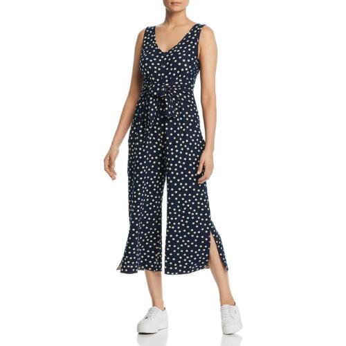 Three Dots Womens Polka Dot Split Hem Sleeveless Jumpsuit BHFO 7037