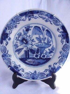 .antiker Teller / Plate .blau / Weiß Malerei .18 .jh .china Stil /tipp.
