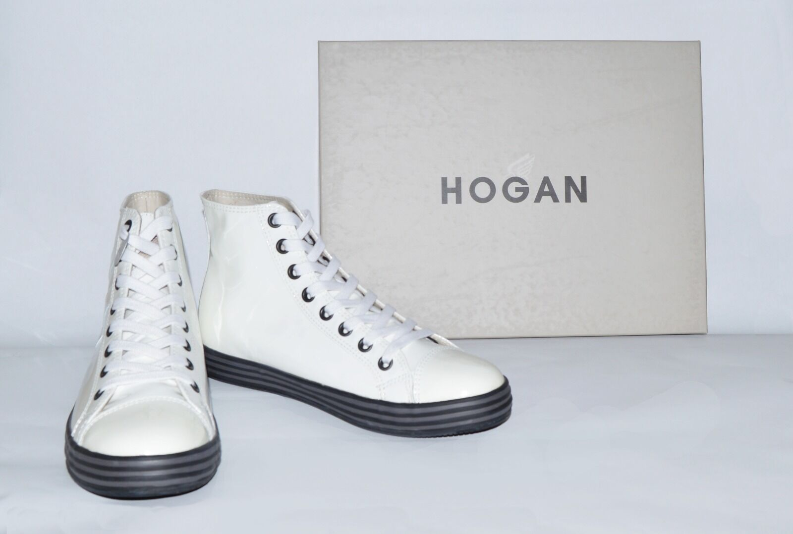 Men's White Hogan High-Top Sneakers Size 8.5 Medium