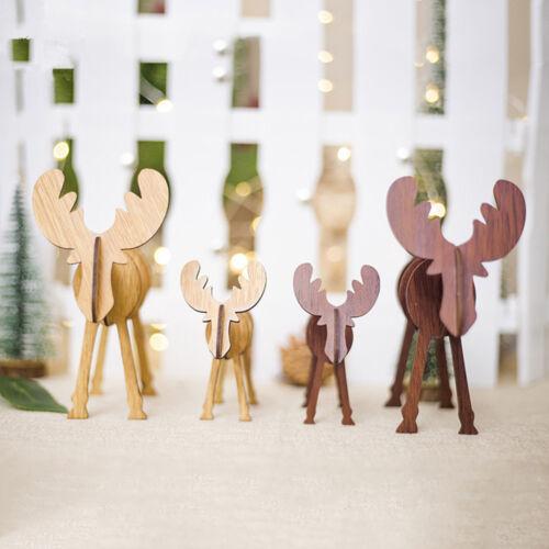 Christmas Elk DIY Assembled Crafts Vintage Wooden Reindeer Figurines Ornaments