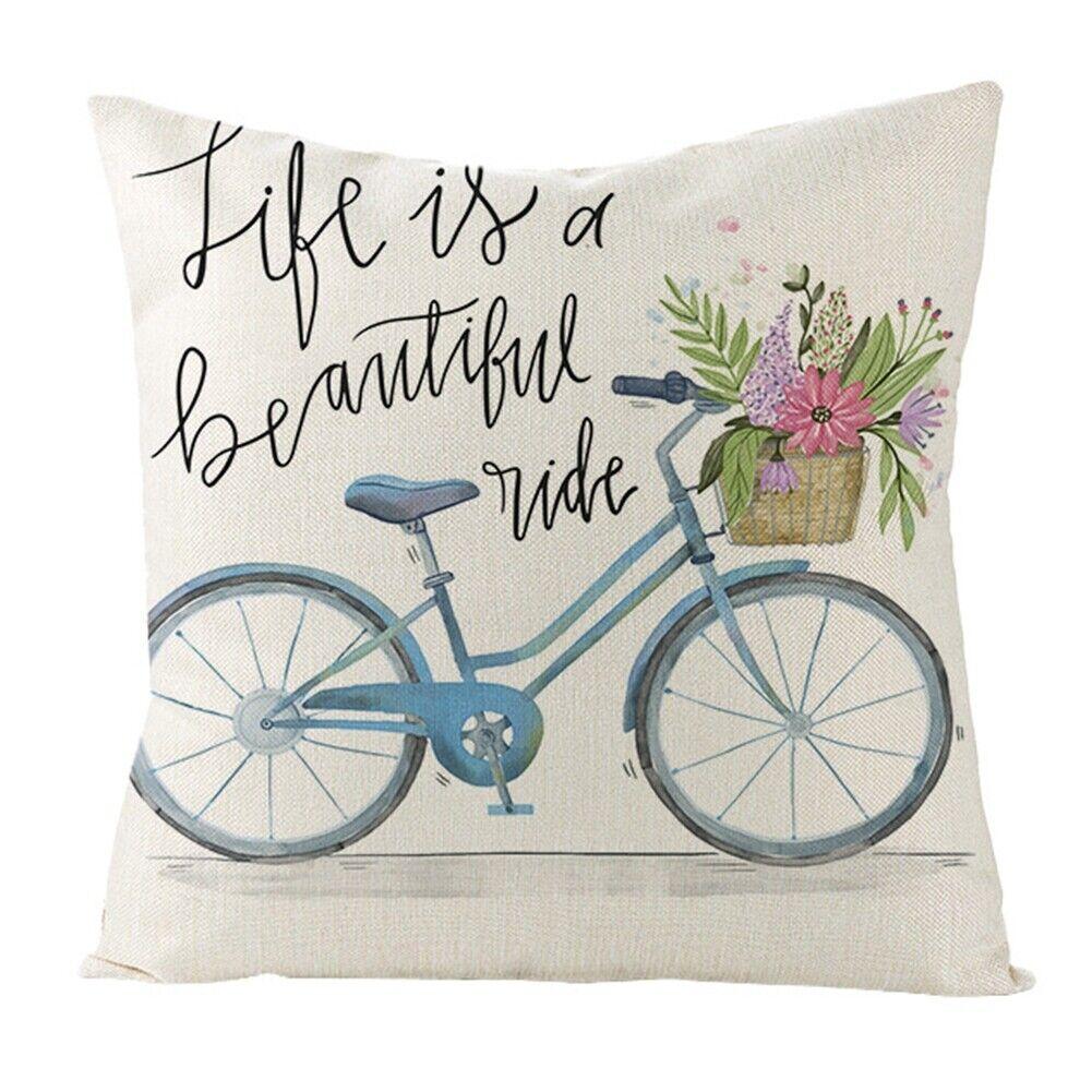 "Vintage Bicycle Cushion Cover Linen Throw Waist Cushion Cover Home Decor 18/"""