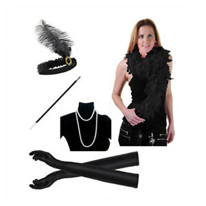 5pcs 1920s Flapper Costume Accessories Set Halloween Hen Night Party Fancy Dress