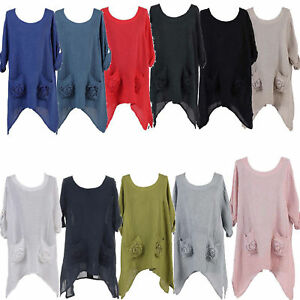 Ladies-Italian-Lagenlook-Quirky-Linen-3D-Floral-Pocket-Women-Tunic-Top-Plus-Size
