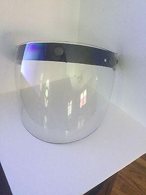3 Snap Flip Up Visor Wind Shield Lens For Open Face Motorcycle Helmet