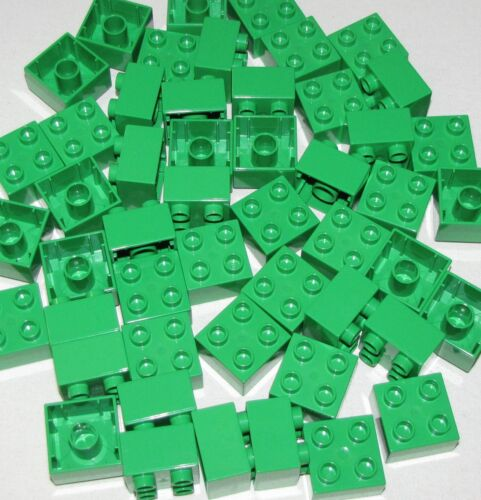 LEGO LOT OF 50 NEW LARGE DUPLO BRIGHT GREEN 2 X 2 BUILDING BLOCKS