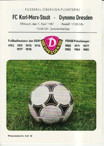 FC Karl-Marx-Stadt OL 86//87 SG Dynamo Dresden