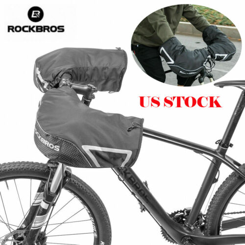 ROCKBROS Winter Bicycle Handlebar Mittens Thickened Windproof Warm Gloves Black