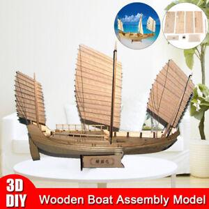 1:148 Wooden Assembly Model Boat Making Building Kit DIY Kids Toys Gift