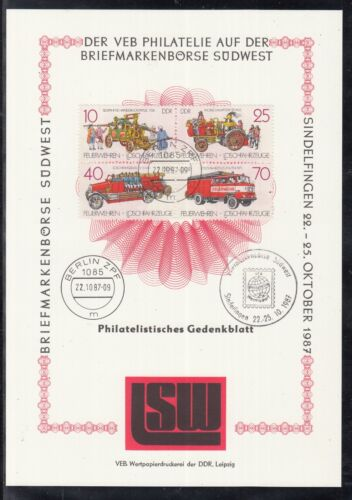 C 24 )East Germany beautiful Philatelic commemorative sheet 1988 Fire Department
