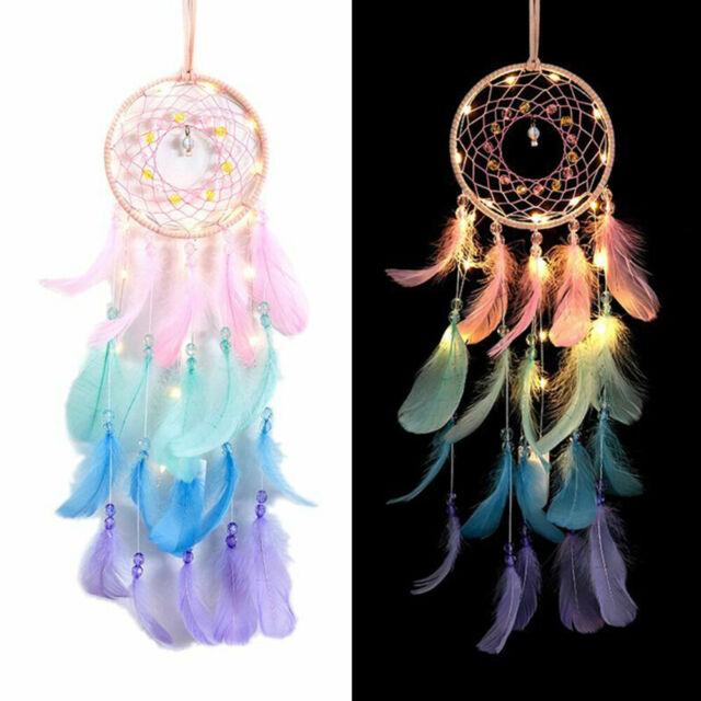 Dream Catcher Net  Lights Feathers Dreamcatchers Wind Chime Wall Hanging Decor g