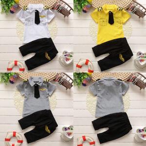 Newborn-Infant-Kids-Baby-Boy-Gentleman-Tie-Tops-T-shirt-Pants-2PCS-Outfit-Set-UK