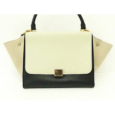 Auth CELINE Black/Ivory Calf x Linen 2WAYS Trapeze Shoulder Hand Bag GHW wt1061