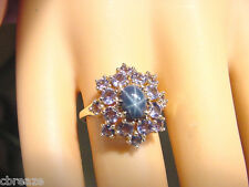 ROYAL BLUE GENUINE STAR SAPPHIRE 1.09 CTS  and 1.25 TCW TANZANITE 14K GOLD RING