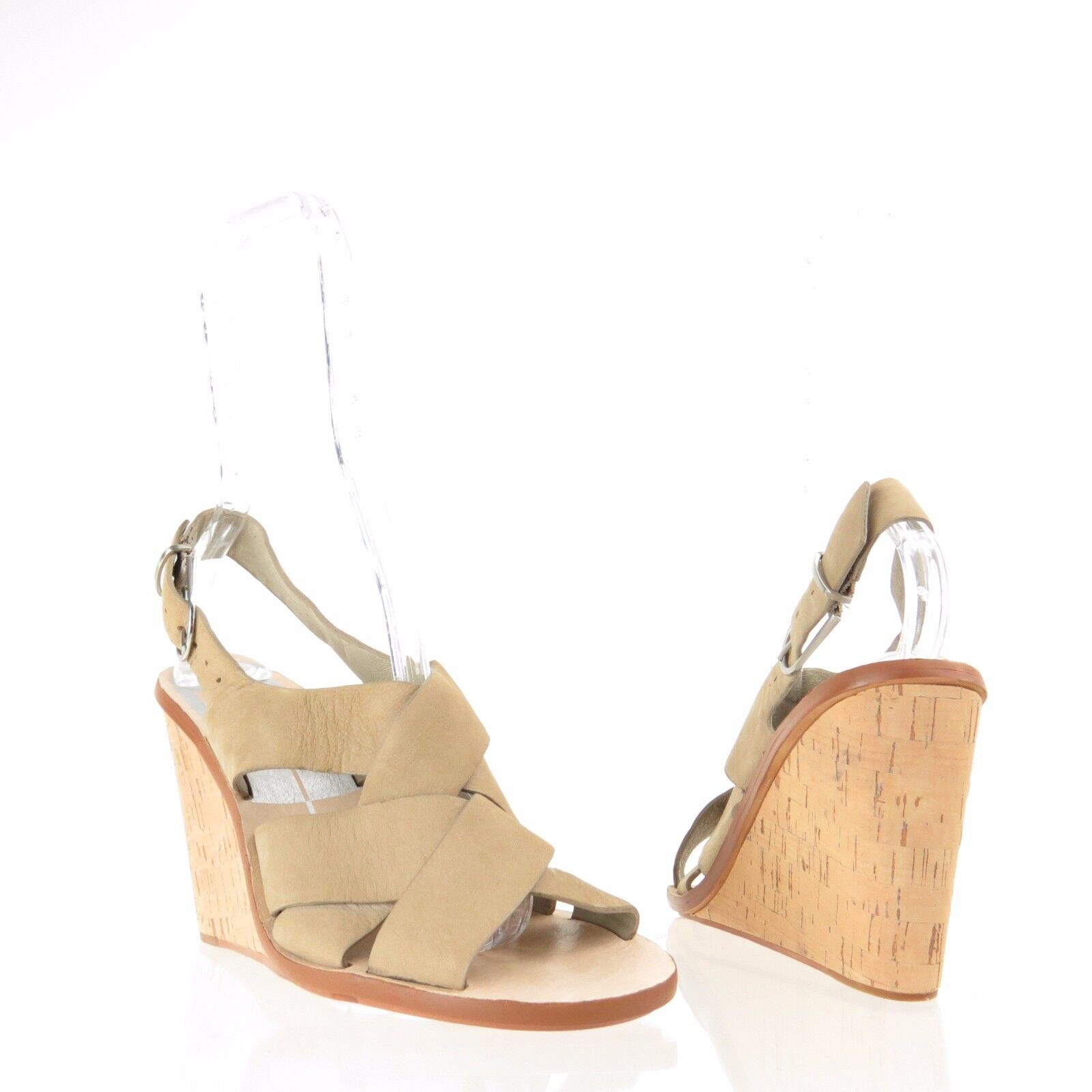 Womens Dolce Vita Remie Shoes Tan Suede Sling 7 Back Wedge Sandals Sz 7 Sling M NEW $160 9c83df