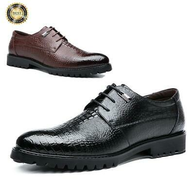 Mens Formal Dress Shoes Crocodile Pattern Oxfords Leather Lace Up Wedding Party