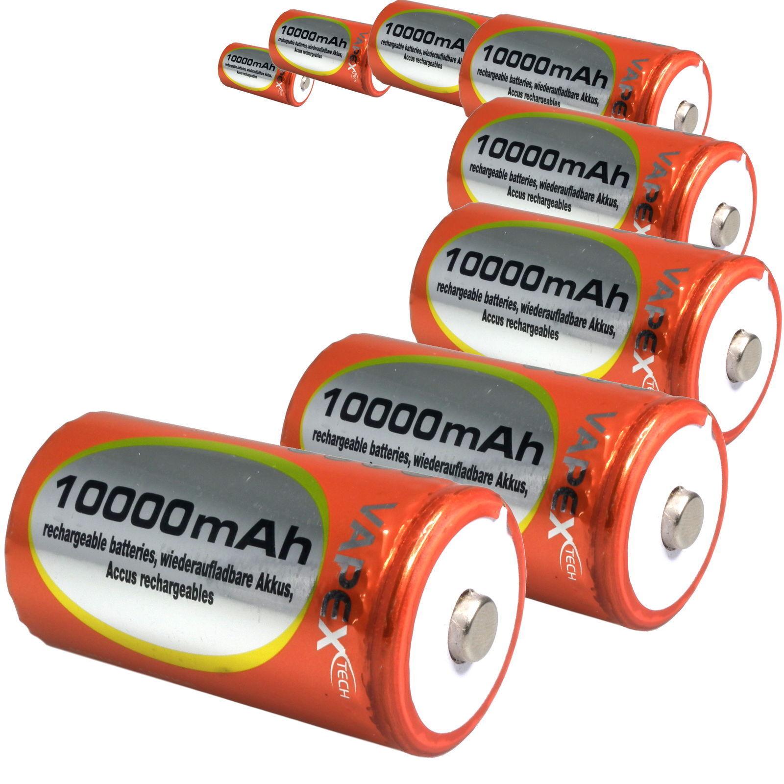 D Dimensione 1.2v 10000mAh Vapextech Batteria Ricaricabile  R20, MN1300, UM1  UK