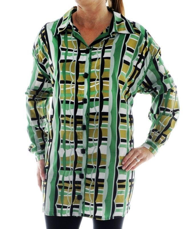 Plus Größe We Be Bop BIG SHIRT 48-505 Grün Plaid Long Sleeve Blouse Chai Latte P