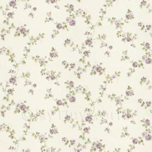 Puppenhaus-Miniatur-klein-Angehaengte-Violett-Rose-Tapete
