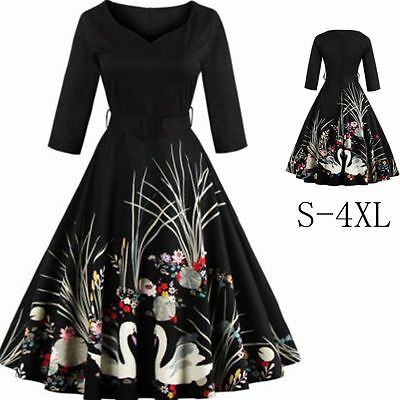 Women Vintage Retro 50s Rockabilly Pinup Swing Evening Cocktail Party Prom Dress