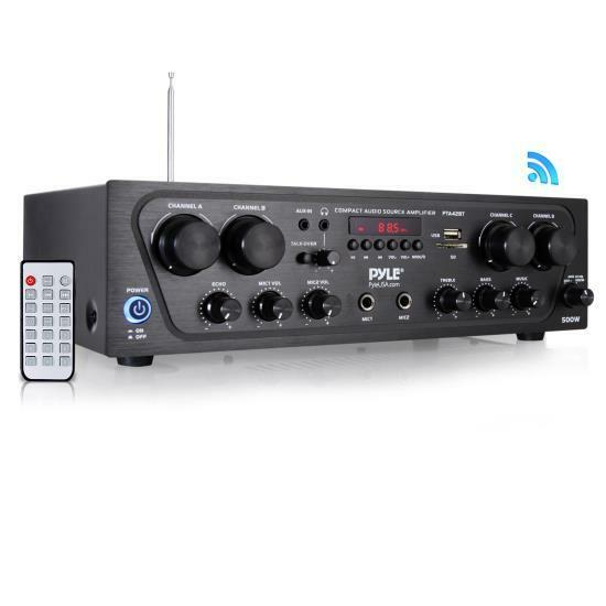 Bluetooth Audio Amplifier, 4-Ch. Audio Source Stereo Receiver System, PTA42BT
