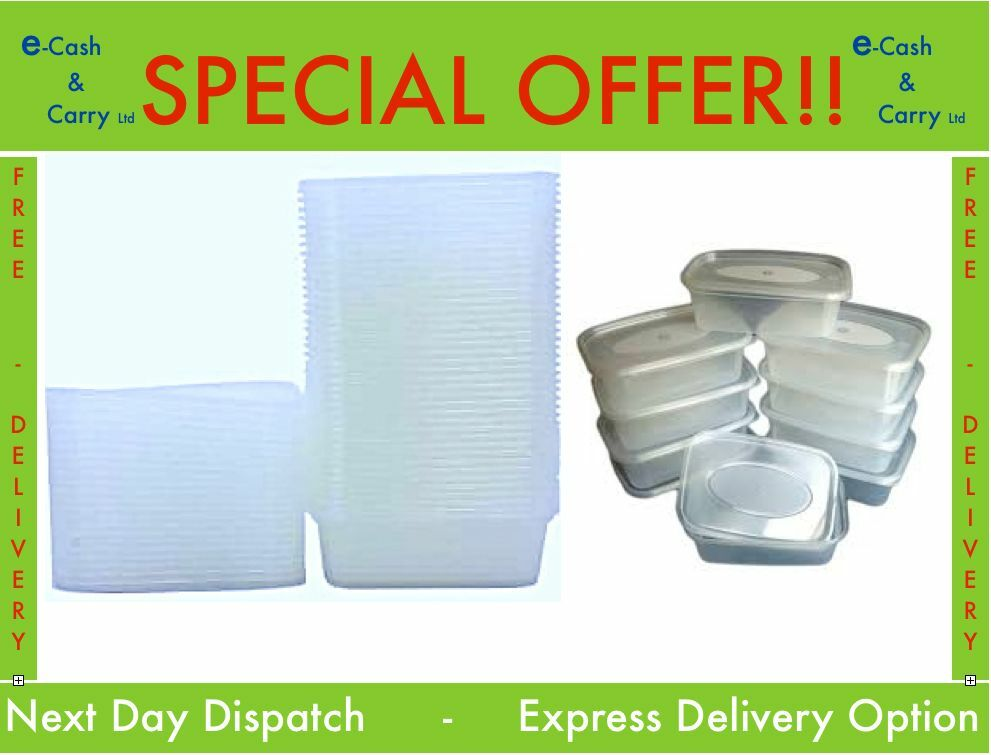 C650 Clear Plastic Containers With Lids   Microwave Safe   Catering   Food Tubs