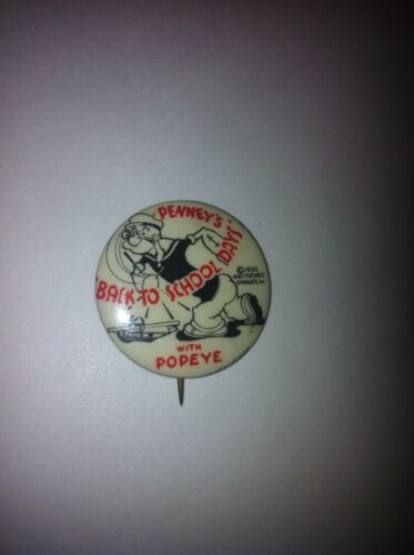 1935 Popeye Penney's Back To School Pinback Button Premium