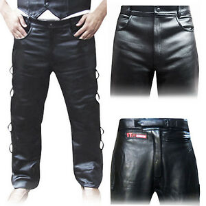 Leather-Biker-Trousers-Tights-Jeans-Leather-pants-Plain-Padded-Side-Laces
