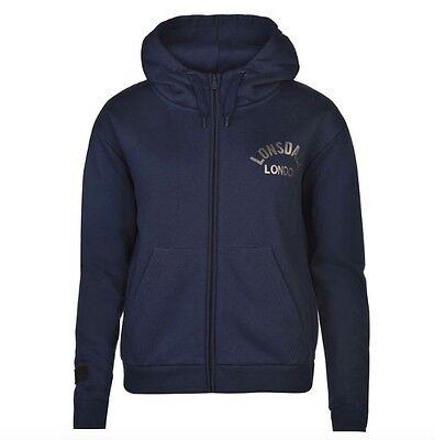 Lonsdale London Damen Zip Jacke Sweater Pullover Schwarz Gold alle Größen Neu