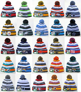 NFL Sports Knit Pom Top Cuffed Beanie Winter Cap Hat Authentic New ... f74c40e3c80