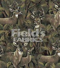 Deer in the Forest Bucks Doe Animal Print Fleece Fabric by the Yard A228.03