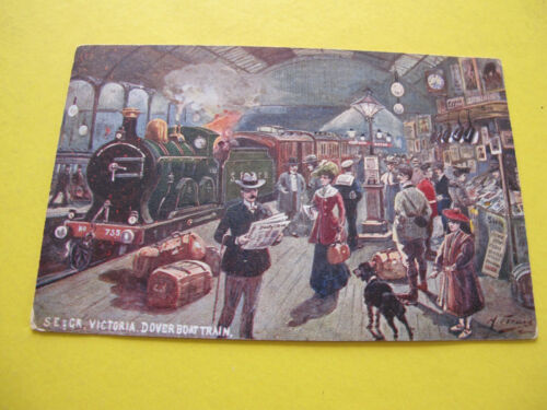 Victoria Dover Boat Train Railway Station Hermann Fleury Artist drawn Postcard