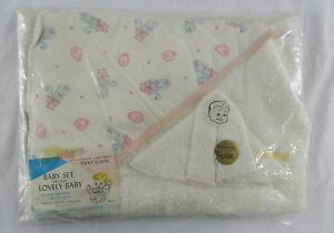Vintage Cannon Terry Cloth Baby Set Poodle Pink Trim Wash Cloth Blanket Towel