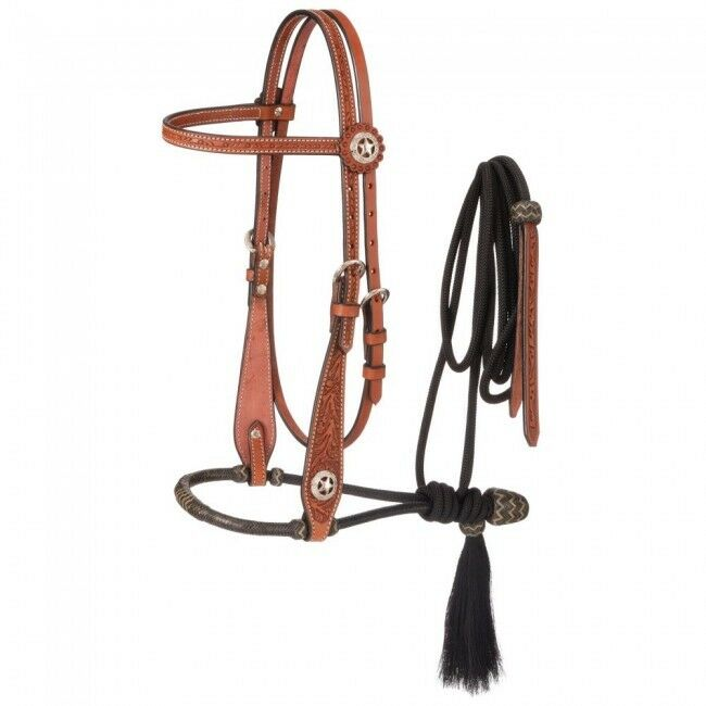 Western Tan Leather Hand Carved Headstall with Bosal Mecate Reins
